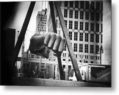 Joe Louis Fist Statue In Monochrome Metal Print by Gordon Dean II