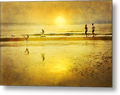 Jogging On Beach With Gulls Metal Print by Theresa Tahara