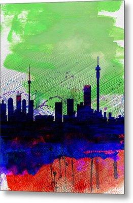 Johannesburg Watercolor Skyline Metal Print by Naxart Studio