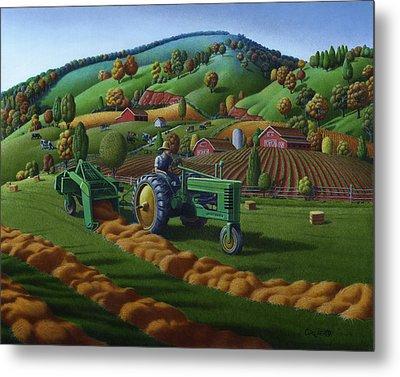 John Deere Tractor Baling Hay Farm Folk Art Landscape - Vintage - Americana Decor -  Painting Metal Print by Walt Curlee