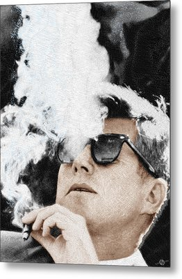 John F Kennedy Cigar And Sunglasses Metal Print by Tony Rubino