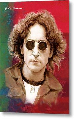 John Lennon Art Stylised Drawing Sketch Poster Metal Print by Kim Wang