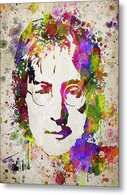 John Lennon In Color Metal Print by Aged Pixel