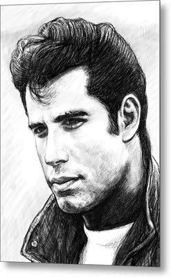 John Travolta Art Drawing Sketch Portrait Metal Print by Kim Wang