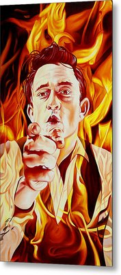 Johnny Cash And It Burns Metal Print by Joshua Morton