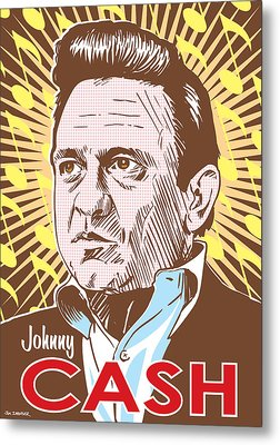 Johnny Cash Pop Art Metal Print by Jim Zahniser
