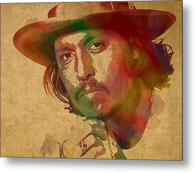 Johnny Depp Watercolor Portrait On Worn Distressed Canvas Metal Print by Design Turnpike