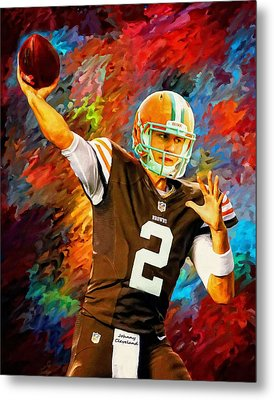 Johnny Manziel Cleveland Browns Football Art Painting Metal Print by Andres Ramos