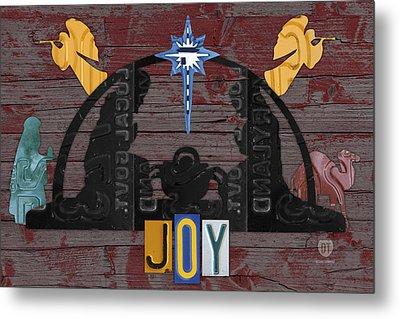 Joy Nativity Scene Recycled License Plate Art Metal Print by Design Turnpike