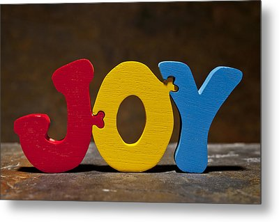 Joy Puzzle Painted Wood Letters Metal Print by Donald  Erickson