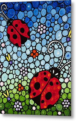 Joyous Ladies Ladybugs Metal Print by Sharon Cummings