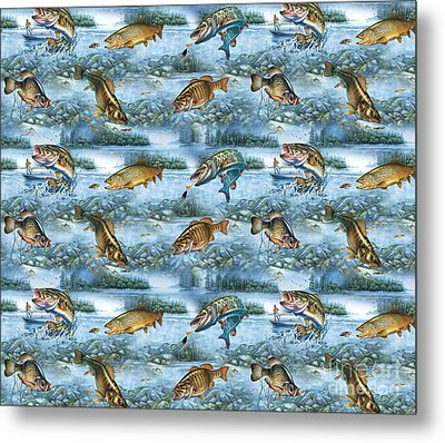 Jq Lake Fish Bedding Pillow Metal Print by Jon Q Wright