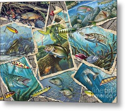 Jq's Fishing Collage Metal Print by Jon Q Wright