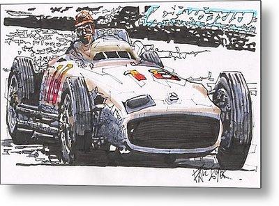 Juan Fangio Mercedes Benz German Grand Prix Metal Print by Paul Guyer