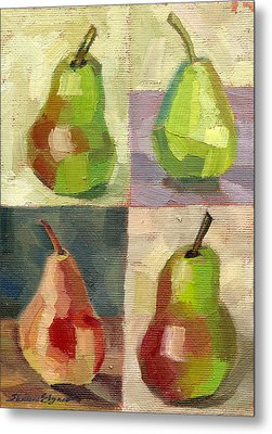 Juicy Pears Four Square Metal Print by Shalece Elynne