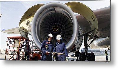 Jumbo Jet Engine Power Metal Print by Christian Lagereek
