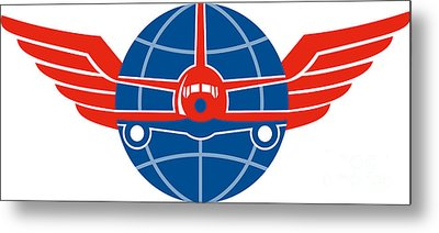 Jumbo Jet Plane Front Wings Globe Metal Print by Aloysius Patrimonio
