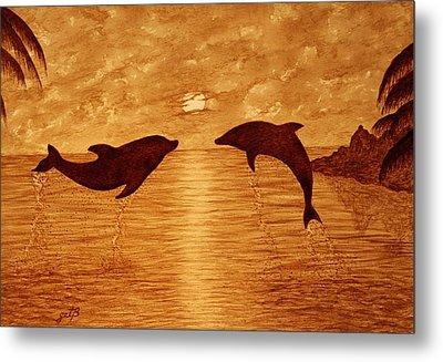 Jumping Dolphins At Sunset Metal Print by Georgeta  Blanaru