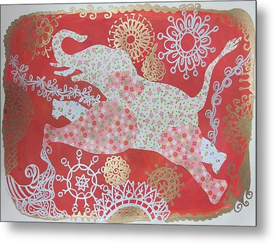 Jumping Elephant Metal Print by Cherie Sexsmith