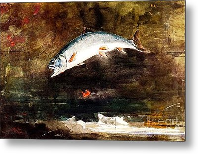 Jumping Trout Metal Print by Pg Reproductions