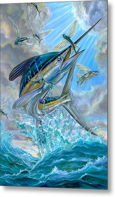 Jumping White Marlin And Flying Fish Metal Print by Terry Fox