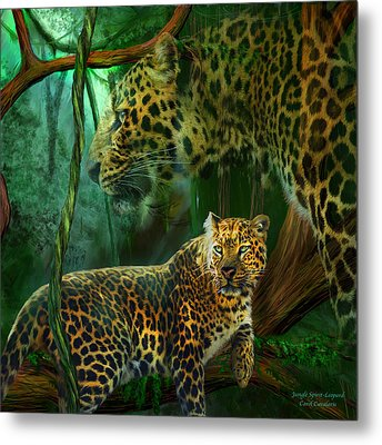 Jungle Spirit - Leopard Metal Print by Carol Cavalaris