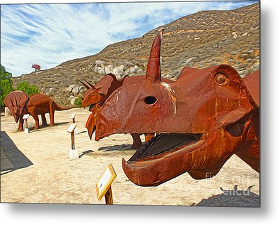 Jurupa Dinosaurs - Triceratops Group Metal Print by Gregory Dyer
