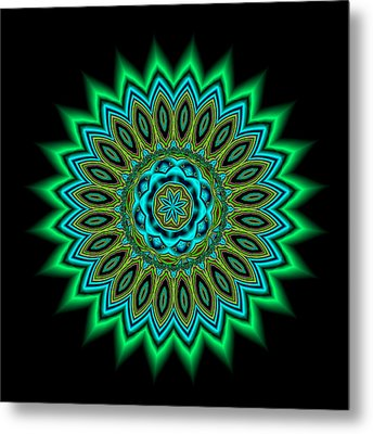 Kaleidoscope 1 Blues And Greens Metal Print by Faye Giblin