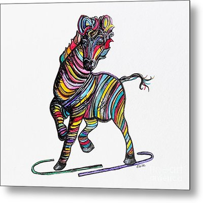 Kaleidoscope Zebra -- Baby Strut Your Stuff  Metal Print by Eloise Schneider