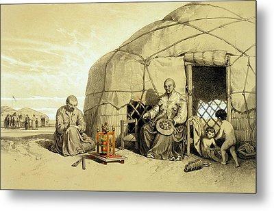 Kalmuks With A Prayer Wheel, Siberia Metal Print by Francois Fortune Antoine Ferogio
