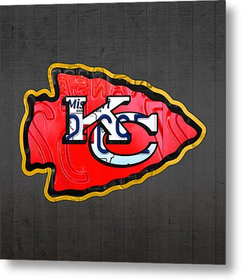 Kansas City Chiefs Football Team Retro Logo Missouri License Plate Art Metal Print by Design Turnpike