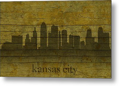Kansas City Missouri City Skyline Silhouette Distressed On Worn Peeling Wood Metal Print by Design Turnpike
