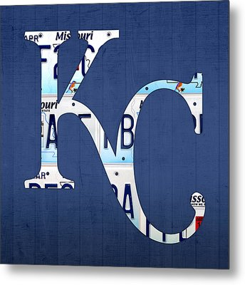 Kansas City Royals Recycled License Plate Art Baseball Logo Metal Print by Design Turnpike