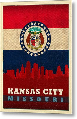 Kansas City Skyline State Flag Of Missouri Art Poster Series 008 Metal Print by Design Turnpike