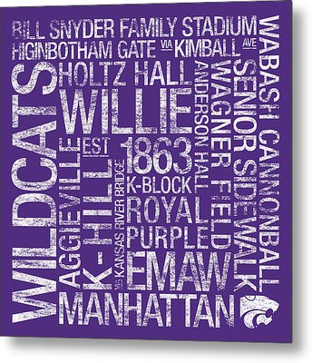 Kansas State College Colors Subway Art Metal Print by Replay Photos
