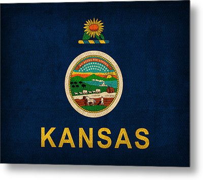 Kansas State Flag Art On Worn Canvas Metal Print by Design Turnpike