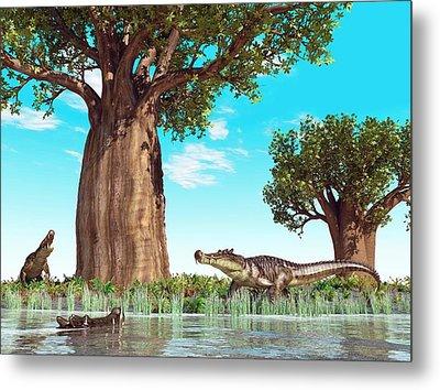 Kaprosuchus Prehistoric Crocodiles Metal Print by Walter Myers