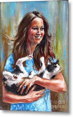 Kate Middleton Duchess Of Cambridge And Her Royal Baby Cat Metal Print by Daniel Cristian Chiriac
