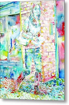Kate Middleton Portrait.3 Walking In The Street Metal Print by Fabrizio Cassetta