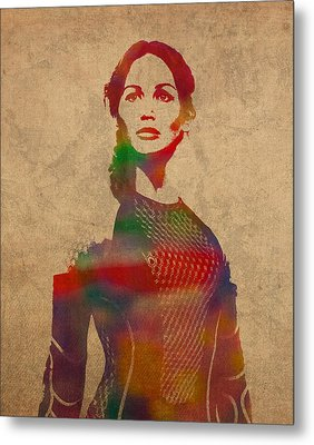 Katniss Everdeen From Hunger Games Jennifer Lawrence Watercolor Portrait On Worn Parchment Metal Print by Design Turnpike