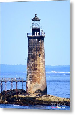 Kayaking By Ram Island  Metal Print by Nancy Patterson