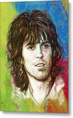 Keith Richards Stylised Pop Art Drawing Potrait Poster Metal Print by Kim Wang