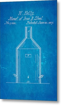 Kelly Iron And Steel Patent Art 1857 Blueprint Metal Print by Ian Monk