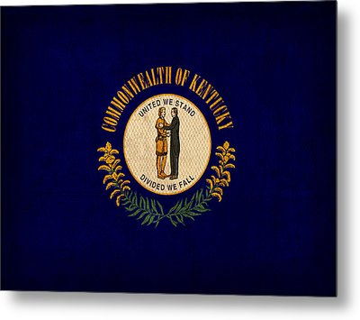 Kentucky State Flag Art On Worn Canvas Metal Print by Design Turnpike