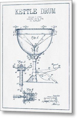 Kettle Drum Drum Patent Drawing From 1941  - Blue Ink Metal Print by Aged Pixel