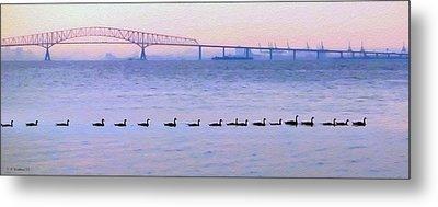 Key Bridge And Waterfowl Metal Print by Brian Wallace