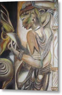 Khajuraho Tantrik Dancer Applying Make-up Metal Print by Prasenjit Dhar
