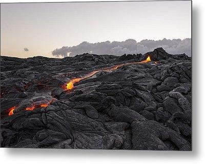 Kilauea Volcano 60 Foot Lava Flow - The Big Island Hawaii Metal Print by Brian Harig
