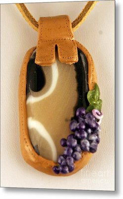 Kilnformed Glass And Polymer Clay Pendant Ss01111101 Metal Print by P Russell