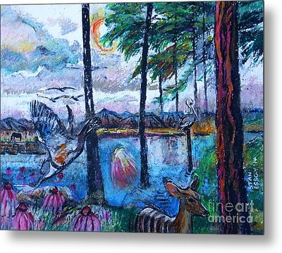 Kingfisher And Deer In Landscape Metal Print by Stan Esson